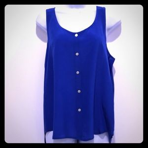 Blue Razor Back Silk Tank with Buttons